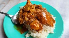 Kleverige rijst met kerriekip royalty-vrije stock foto
