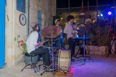 Klezmer Festival 2018 in Safed Tzfat. Safed, Israel - August 14, 2018: Scene of the Klezmer Festival, with street musicians playing, in Safed Tzfat, Israel. Its stock photo