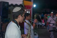 Klezmer Festival 2018 in Safed Tzfat. Safed, Israel - August 14, 2018: Scene of the Klezmer Festival, with street musicians and crowd. Safed Tzfat, Israel. Its royalty free stock photo