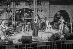 Klezmer Festival 30th in Safed Tzfat, Israel. SAFED, ISRAEL - AUGUST 23, 2017: Group of musicians Adi Adar play at the Klezmer Festival in Safed Tzfat, Israel Royalty Free Stock Photography