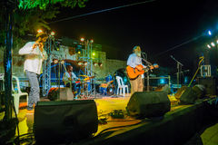 Klezmer Festival 30th in Safed Tzfat, Israel. SAFED, ISRAEL - AUGUST 23, 2017: Group of musicians Yehuda Katz play at the Klezmer Festival in Safed Tzfat, Israel Stock Images