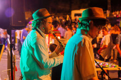 Klezmer Festival 30th in Safed Tzfat, Israel. SAFED, ISRAEL - AUGUST 23, 2017: Scene of the Klezmer Festival, with street musicians playing, in Safed Tzfat Stock Photos