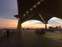 KLIA at sunset. KL International Airport arrival hall at sunset Royalty Free Stock Image