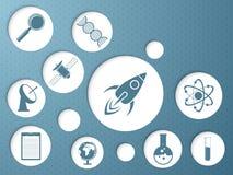 Klibbig design med vetenskapssymboler Arkivbild