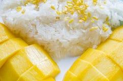 Klibbig Rice för mango Royaltyfri Fotografi