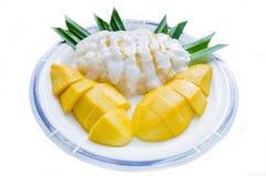 Klibbig Rice för mango Arkivfoton