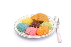 Klibbig rice med ångad custard, thailändsk efterrätt Royaltyfri Foto