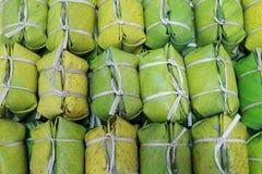 Klibbig Rice och bananer Royaltyfria Foton