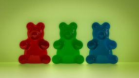 Klibbiga björnar i det röda grönt för färger och blått royaltyfria foton