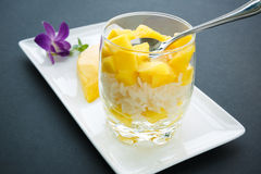 Klibbiga ris för mango Royaltyfri Fotografi