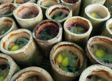 Klibbiga ris i bambu eller Khao Lham i thailändskt språk Arkivbilder