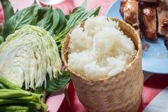 Klibbiga ris i thailändsk behållare för klibbiga ris Royaltyfri Fotografi