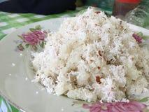 Klibbiga ris med kokosnöten Royaltyfri Fotografi
