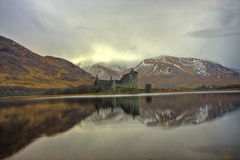 Klichurn Castle on Loch Awe. Scenic view of Kilchurn castle and mountains reflected on Loch Awe, Argyll and Bute, Scotland Stock Photos
