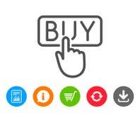 Klick som köper linjen symbol Online-shoppingtecken vektor illustrationer