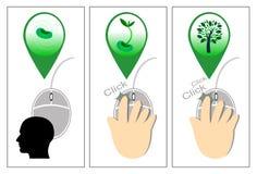 Klicka en datormus - illustration Arkivbild