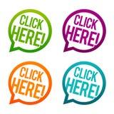 Klicka här runda knappar Vektor för cirkel Eps10 stock illustrationer