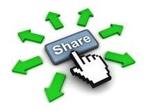 klickande share för knapp royaltyfri illustrationer