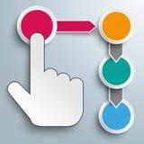 Klicken drückt Knöpfe 4 Kreise von Hand ein Stockfoto