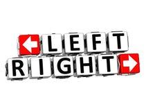 klicken Linksrechtsknopf 3D hier Block-Text Lizenzfreie Stockfotos