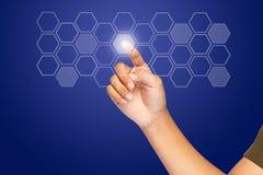 Klicken Sie ein Hexagonbildschirm- Taste Lizenzfreie Stockfotos