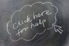 Klicken Sie hier für Hilfe stockfoto