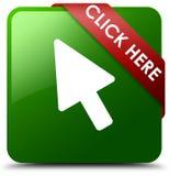 Klicken Sie hier grünen quadratischen Knopf Stockfoto