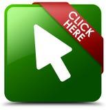Klicken Sie hier grünen quadratischen Knopf Stockfotos