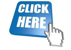 Klicken Sie hier Knopf mit Cursor Lizenzfreies Stockbild