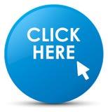 Klicken Sie hier runden Knopf des Cyanblaus Lizenzfreie Stockfotos