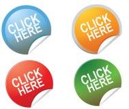 Klicken Sie hier Taste Lizenzfreie Stockfotos