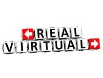 klicken wirklicher virtueller Knopf 3D hier Block-Text Stockfoto