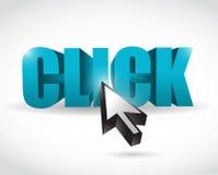 Klickentext- und -cursor-Illustrationsdesign Stockbilder