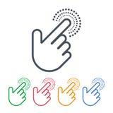 Klicksymboler med handmarkördesign Pekaresymboler royaltyfri bild