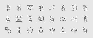 Klickuppsättning av släkta vektorsymboler för knappar Innehåller sådana symboler som markören, mus, handen, pekfingret, pil och m stock illustrationer