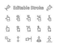 Klickuppsättning av släkta vektorsymboler för knappar Innehåller sådana symboler som markören, mus, handen, pekfingret, pil och m royaltyfri illustrationer