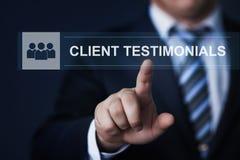 Klientów testimonials Opiniują informacje zwrotne technologii interneta biznesowego pojęcie Fotografia Stock