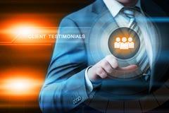 Klientów testimonials Opiniują informacje zwrotne technologii interneta biznesowego pojęcie Obrazy Stock