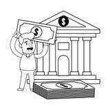 Klient f?r packa ihop operationer f?r konsument svartvit lycklig stock illustrationer