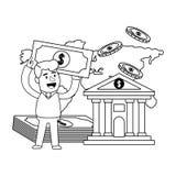 Klient f?r packa ihop operationer f?r konsument svartvit lycklig royaltyfri illustrationer