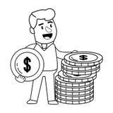 Klient f?r packa ihop operationer f?r konsument svartvit lycklig vektor illustrationer