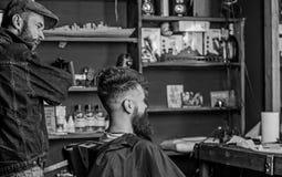 Klient i mistrzowski sprawdza rezultat ostrzyżenie lub Modnisia klient dostać nowego ostrzyżenie Fryzjer męski z brodatym mężczyz zdjęcie stock