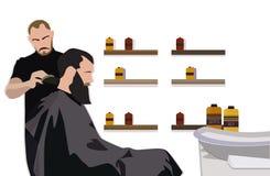 Klient odwiedza hairstylist w fryzjera męskiego sklepie Zdjęcia Royalty Free
