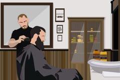 Klient odwiedza hairstylist w fryzjera męskiego sklepie Zdjęcia Stock