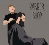 Klient odwiedza hairstylist w fryzjera męskiego sklepie Obrazy Royalty Free