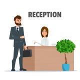 Klient otrzymywa biznesmena przy przyjęciem klucz dziewczyna Fotografia Stock