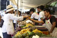 Klient płaci dla warzyw przy ulicznym organicznie rynkiem zdjęcia royalty free