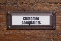 Klient skargi - kartoteka gabineta etykietka obraz stock