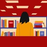 Klient w bookstore Wektorowe grafika w nowożytnym stylu ilustracji