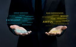 Klienta doświadczenia strategii pojęcie Pozytywny i Negatywny Onli Fotografia Stock